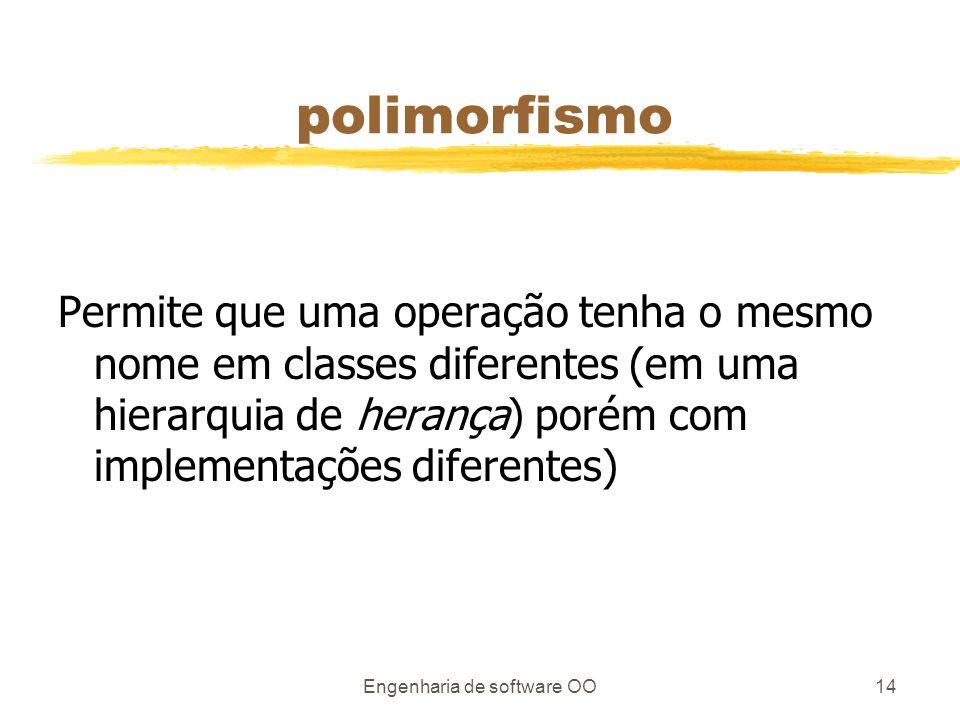 Engenharia de software OO14 polimorfismo Permite que uma operação tenha o mesmo nome em classes diferentes (em uma hierarquia de herança) porém com implementações diferentes)