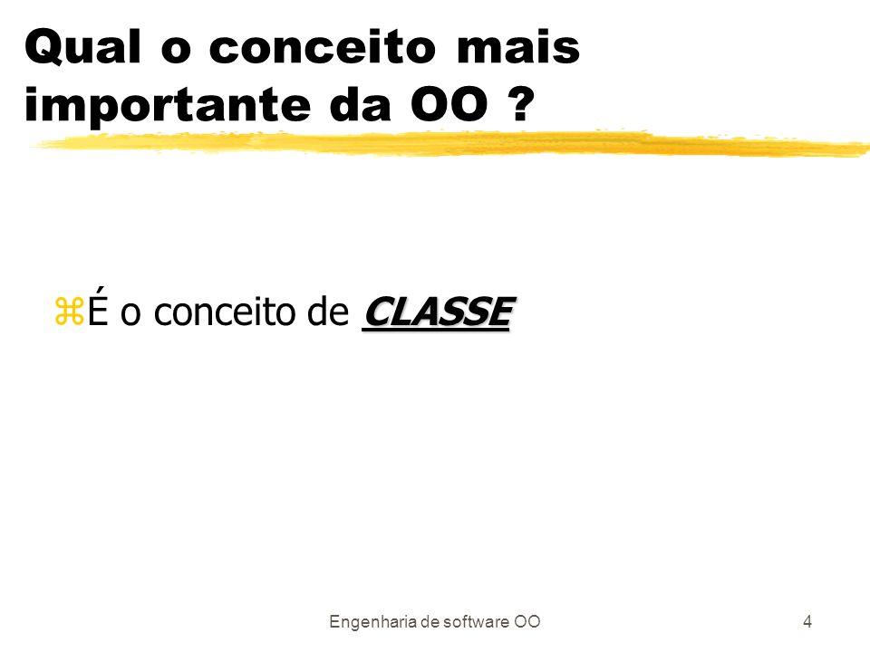 Engenharia de software OO4 Qual o conceito mais importante da OO ? CLASSE zÉ o conceito de CLASSE