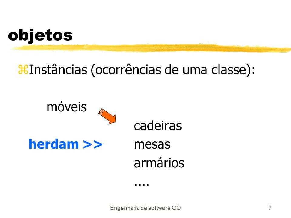 Engenharia de software OO7 objetos zInstâncias (ocorrências de uma classe): móveis cadeiras herdam >>mesas armários....