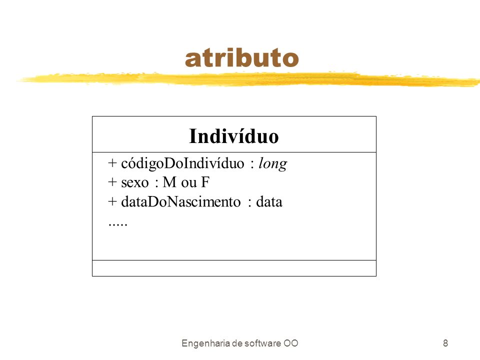 Engenharia de software OO8 atributo Indivíduo + códigoDoIndivíduo : long + sexo : M ou F + dataDoNascimento : data.....
