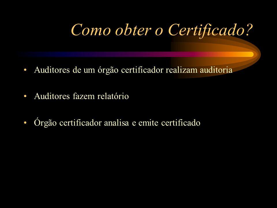 Como obter o Certificado? Auditores de um órgão certificador realizam auditoria Auditores fazem relatório Órgão certificador analisa e emite certifica
