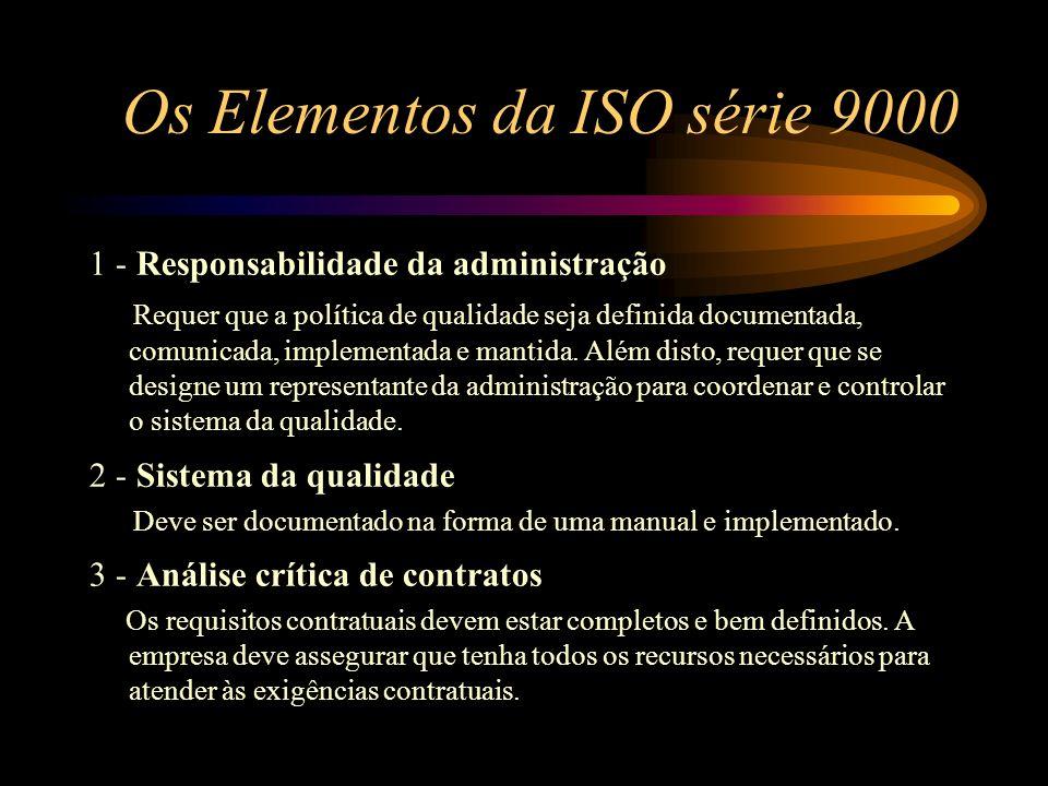 Os Elementos da ISO série 9000 1 - Responsabilidade da administração Requer que a política de qualidade seja definida documentada, comunicada, impleme
