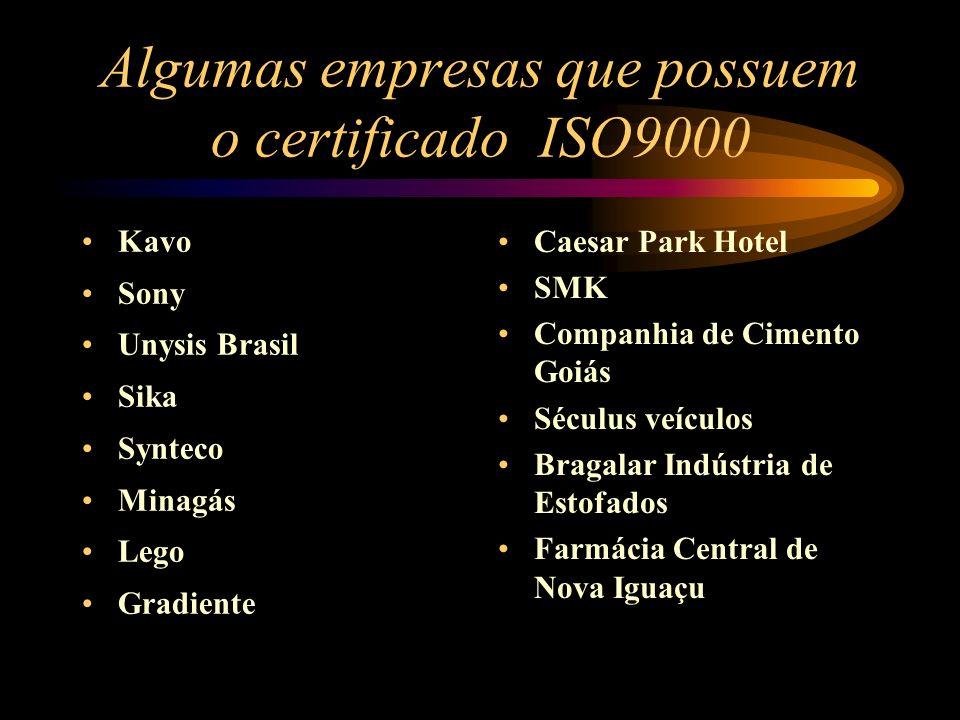 Algumas empresas que possuem o certificado ISO9000 Kavo Sony Unysis Brasil Sika Synteco Minagás Lego Gradiente Caesar Park Hotel SMK Companhia de Cime