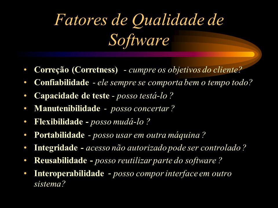 Fatores de Qualidade de Software Correção (Corretness) - cumpre os objetivos do cliente? Confiabilidade - ele sempre se comporta bem o tempo todo? Cap