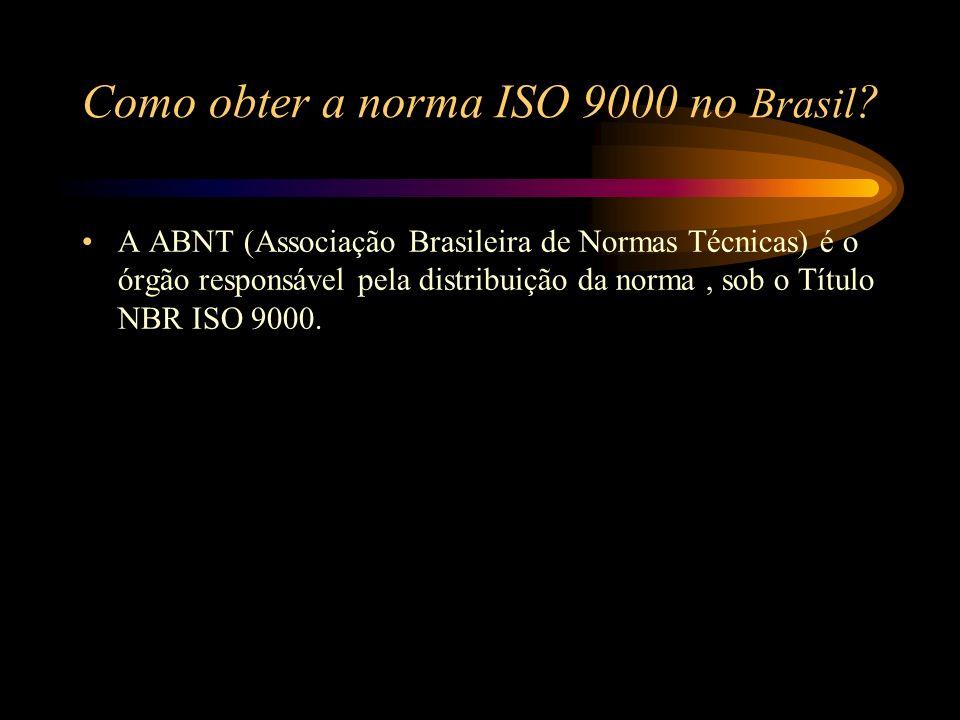 Como obter a norma ISO 9000 no Brasil ? A ABNT (Associação Brasileira de Normas Técnicas) é o órgão responsável pela distribuição da norma, sob o Títu
