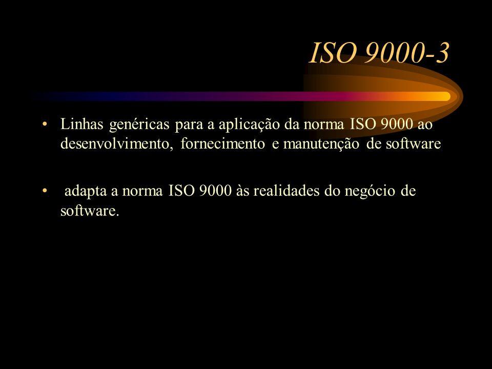 ISO 9000-3 Linhas genéricas para a aplicação da norma ISO 9000 ao desenvolvimento, fornecimento e manutenção de software adapta a norma ISO 9000 às re