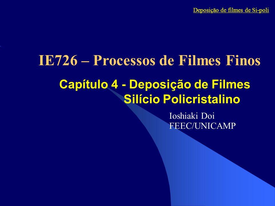 Capítulo 4 - Deposição de Filmes Silício Policristalino Ioshiaki Doi FEEC/UNICAMP Deposição de filmes de Si-poli IE726 – Processos de Filmes Finos