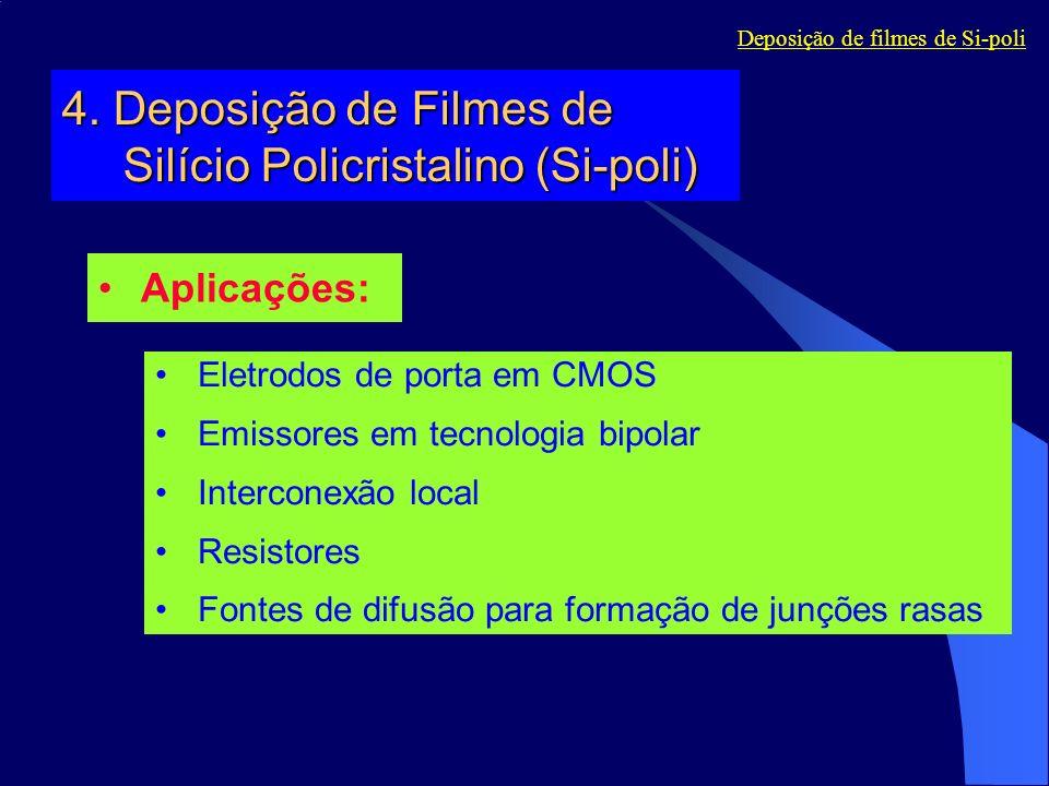 4. Deposição de Filmes de Silício Policristalino (Si-poli) Aplicações: Eletrodos de porta em CMOS Emissores em tecnologia bipolar Interconexão local R