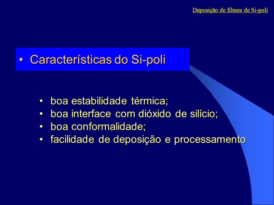 Características do Si-poliCaracterísticas do Si-poli boa estabilidade térmica;boa estabilidade térmica; boa interface com dióxido de silício;boa inter