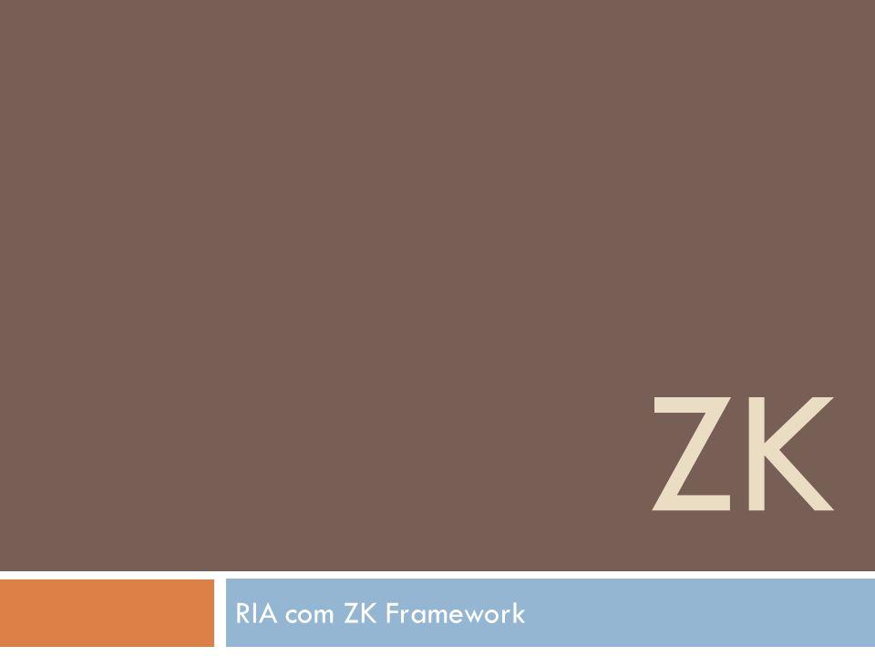 Características Cada elemento ZK instrui ao ZK Loader qual componente criar Uma propriedade ZK descreve um valor inicial a ser atribuído ao componente criado Uma instrução de processamento ZK descreve como processar a página inteira, como o título da página.