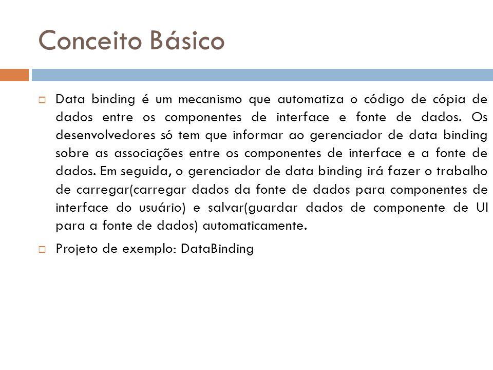 Conceito Básico Data binding é um mecanismo que automatiza o código de cópia de dados entre os componentes de interface e fonte de dados. Os desenvolv