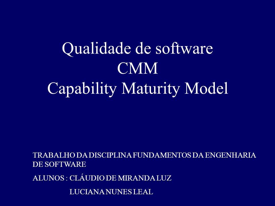 Qualidade de software CMM Capability Maturity Model TRABALHO DA DISCIPLINA FUNDAMENTOS DA ENGENHARIA DE SOFTWARE ALUNOS : CLÁUDIO DE MIRANDA LUZ LUCIA