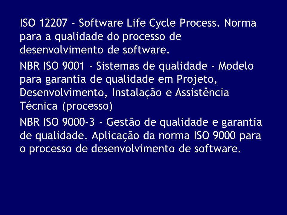 ISO 12207 - Software Life Cycle Process. Norma para a qualidade do processo de desenvolvimento de software. NBR ISO 9001 - Sistemas de qualidade - Mod