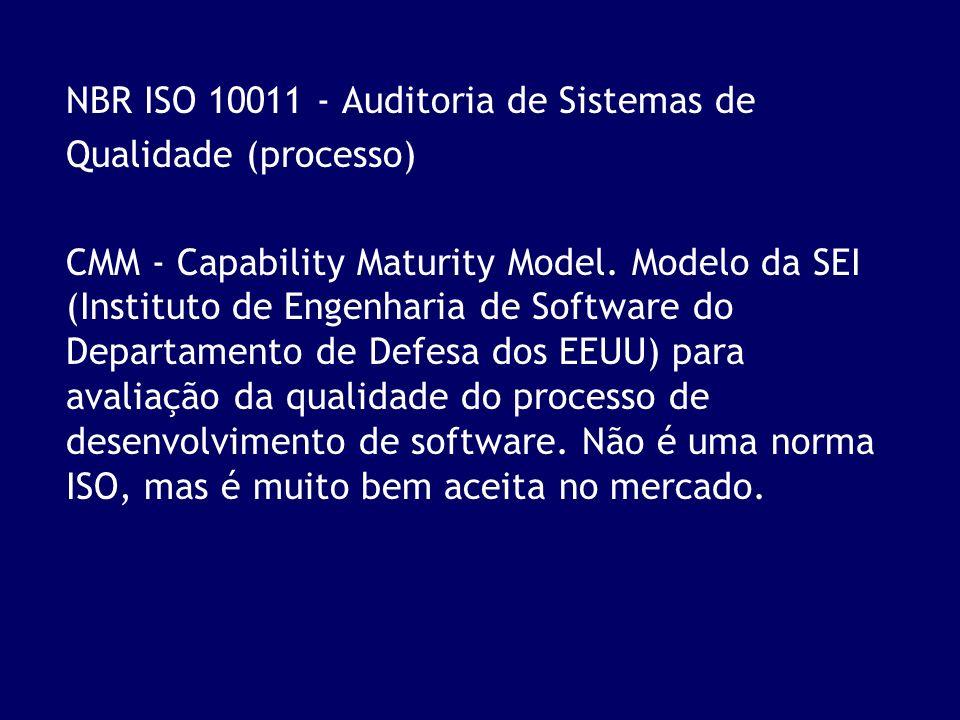 NBR ISO 10011 - Auditoria de Sistemas de Qualidade (processo) CMM - Capability Maturity Model. Modelo da SEI (Instituto de Engenharia de Software do D