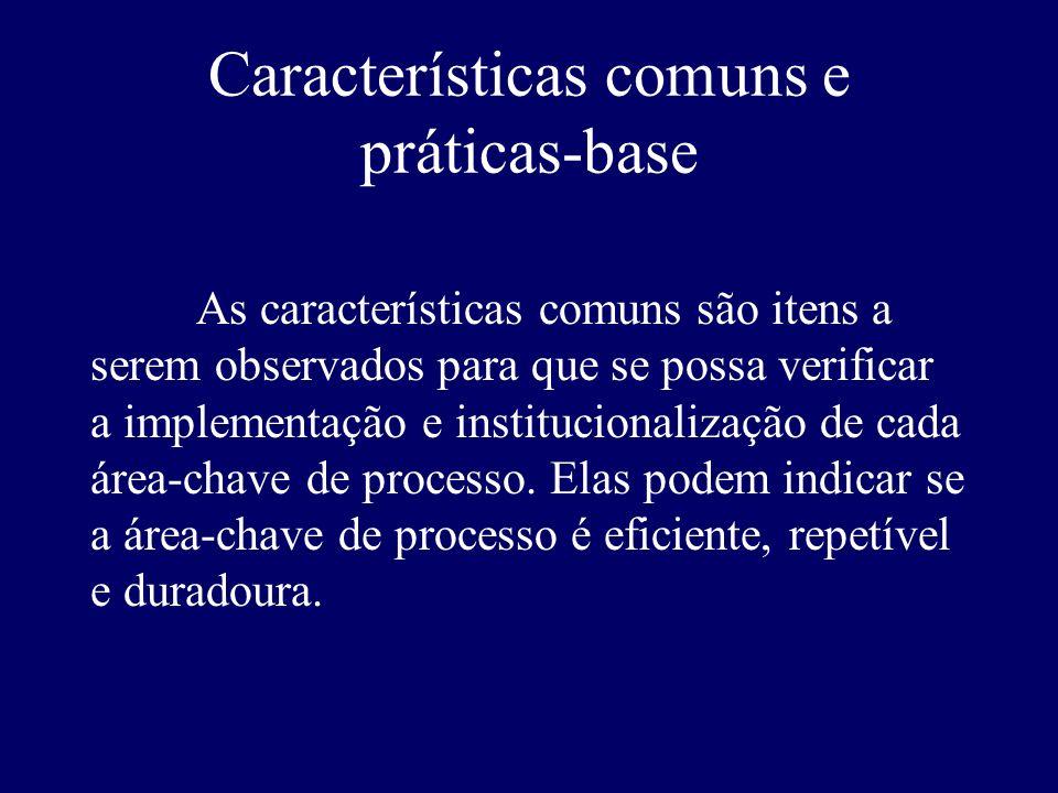 Características comuns e práticas-base As características comuns são itens a serem observados para que se possa verificar a implementação e institucio