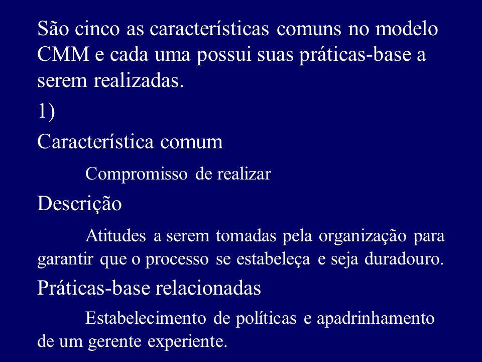 São cinco as características comuns no modelo CMM e cada uma possui suas práticas-base a serem realizadas. 1) Característica comum Compromisso de real
