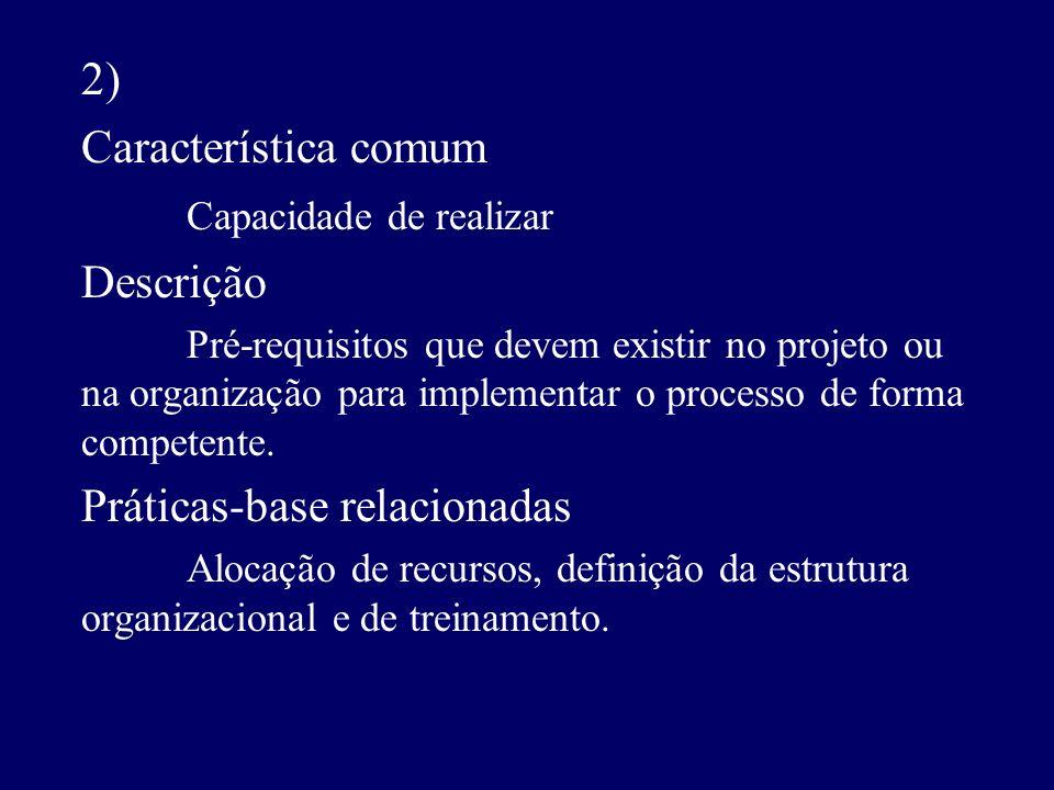 2) Característica comum Capacidade de realizar Descrição Pré-requisitos que devem existir no projeto ou na organização para implementar o processo de