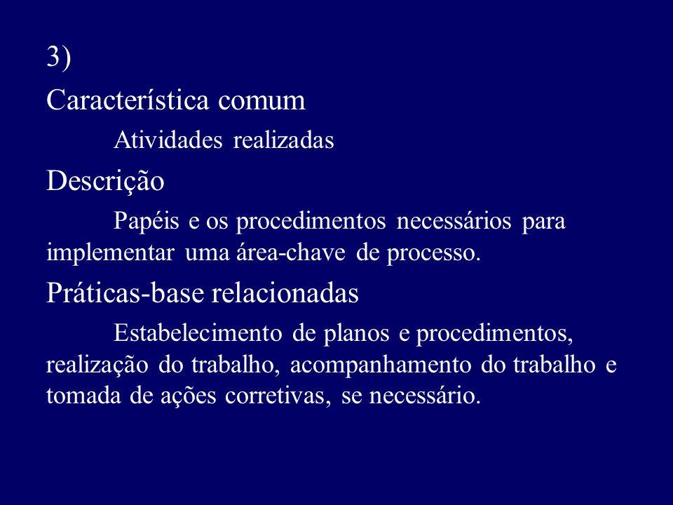 3) Característica comum Atividades realizadas Descrição Papéis e os procedimentos necessários para implementar uma área-chave de processo. Práticas-ba