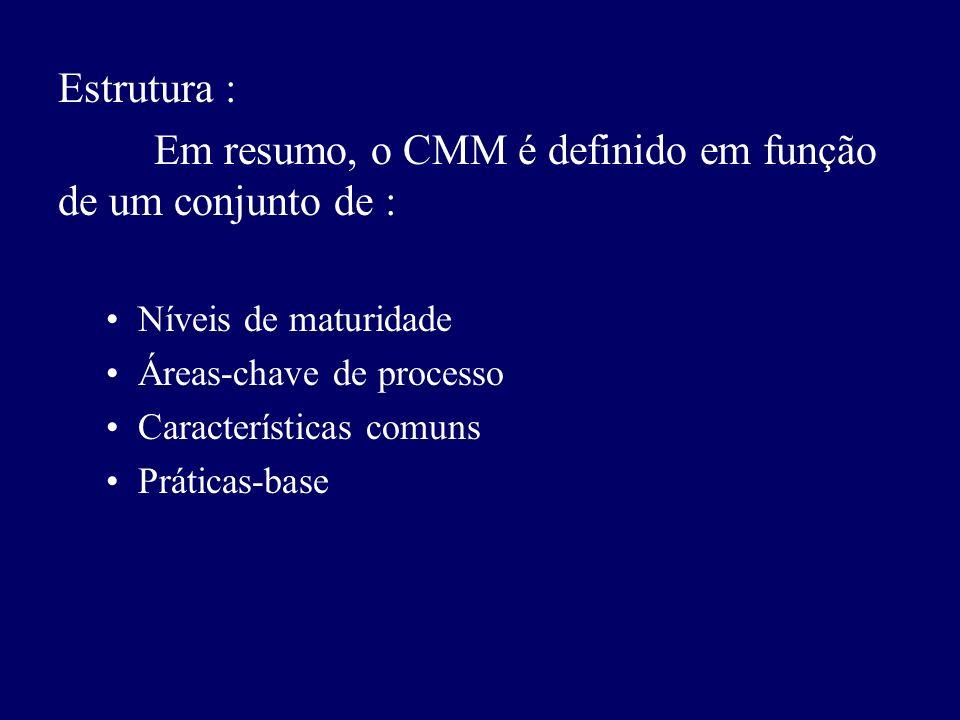 Estrutura : Em resumo, o CMM é definido em função de um conjunto de : Níveis de maturidade Áreas-chave de processo Características comuns Práticas-bas