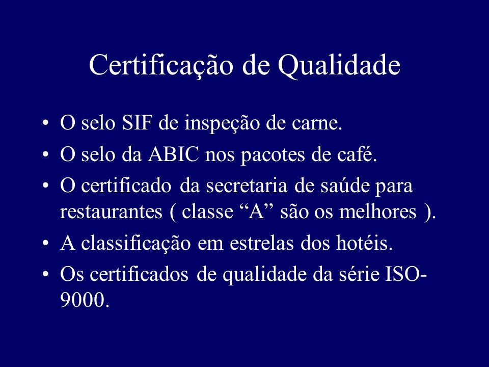 Certificação de Qualidade O selo SIF de inspeção de carne. O selo da ABIC nos pacotes de café. O certificado da secretaria de saúde para restaurantes
