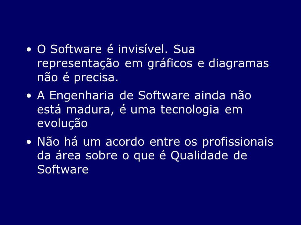 O Software é invisível. Sua representação em gráficos e diagramas não é precisa. A Engenharia de Software ainda não está madura, é uma tecnologia em e