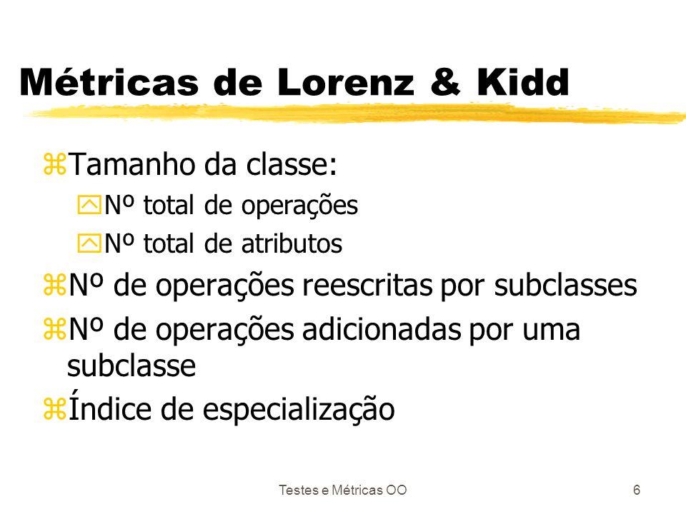 Testes e Métricas OO6 Métricas de Lorenz & Kidd zTamanho da classe: yNº total de operações yNº total de atributos zNº de operações reescritas por subc