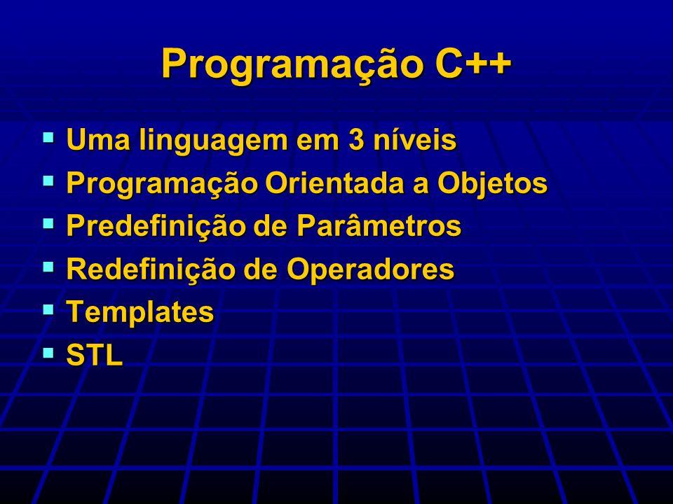 Uma linguagem em 3 níveis Uma linguagem em 3 níveis Programação Orientada a Objetos Programação Orientada a Objetos Predefinição de Parâmetros Predefi