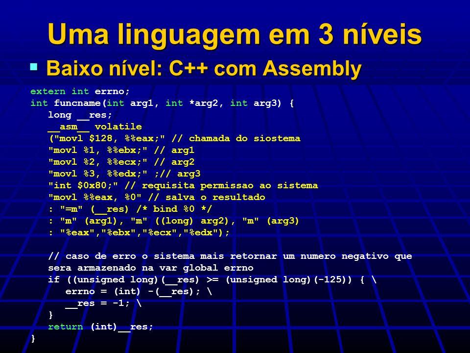 Uma linguagem em 3 níveis Baixo nível: C++ com Assembly Baixo nível: C++ com Assembly extern int errno; int funcname(int arg1, int *arg2, int arg3) {