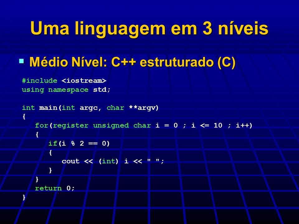 Uma linguagem em 3 níveis Médio Nível: C++ estruturado (C) Médio Nível: C++ estruturado (C) #include using namespace std; int main(int argc, char **ar