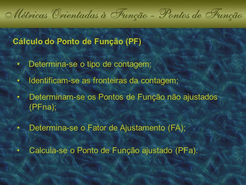 Cálculo do Ponto de Função (PF) Determina-se o tipo de contagem; Identificam-se as fronteiras da contagem; Determinam-se os Pontos de Função não ajustados (PFna); Determina-se o Fator de Ajustamento (FA); Calcula-se o Ponto de Função ajustado (PFa).