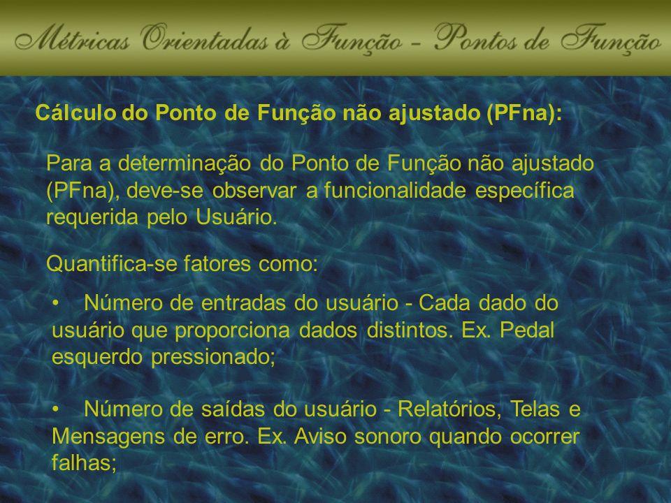 Cálculo do Ponto de Função não ajustado (PFna): Para a determinação do Ponto de Função não ajustado (PFna), deve-se observar a funcionalidade específica requerida pelo Usuário.