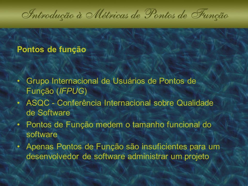 Pontos de função Grupo Internacional de Usuários de Pontos de Função (IFPUG) ASQC - Conferência Internacional sobre Qualidade de Software Pontos de Função medem o tamanho funcional do software Apenas Pontos de Função são insuficientes para um desenvolvedor de software administrar um projeto