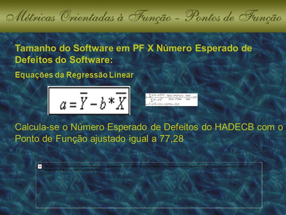 Tamanho do Software em PF X Número Esperado de Defeitos do Software: Calcula-se o Número Esperado de Defeitos do HADECB com o Ponto de Função ajustado igual a 77,28 Equações da Regressão Linear