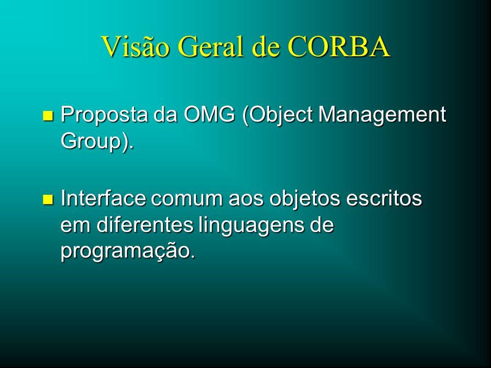Visão Geral de CORBA n Proposta da OMG (Object Management Group). Interface comum aos objetos escritos em diferentes linguagens de programação. Interf
