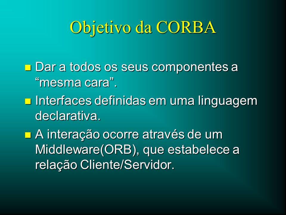 Objetivo da CORBA n Dar a todos os seus componentes a mesma cara. n Interfaces definidas em uma linguagem declarativa. n A interação ocorre através de