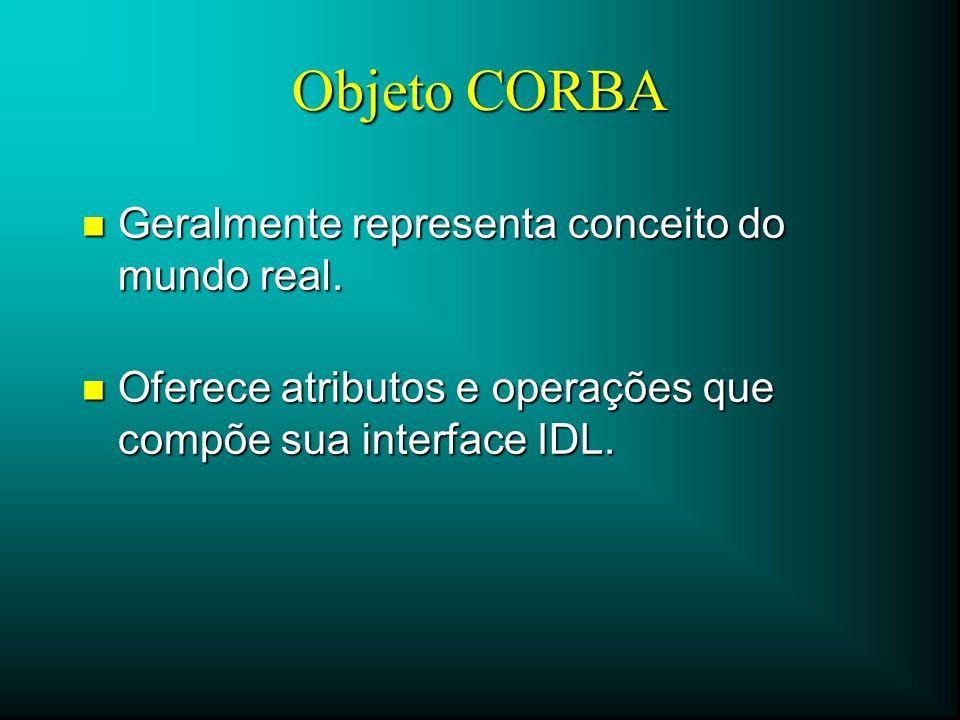 Objeto CORBA n Geralmente representa conceito do mundo real. n Oferece atributos e operações que compõe sua interface IDL.