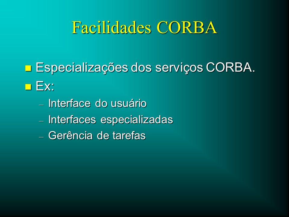 Facilidades CORBA n Especializações dos serviços CORBA. n Ex: – Interface do usuário – Interfaces especializadas – Gerência de tarefas