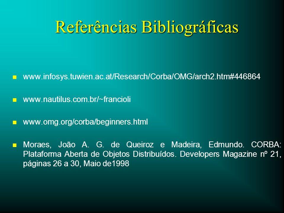 Referências Bibliográficas n n www.infosys.tuwien.ac.at/Research/Corba/OMG/arch2.htm#446864 n n www.nautilus.com.br/~francioli n n www.omg.org/corba/b