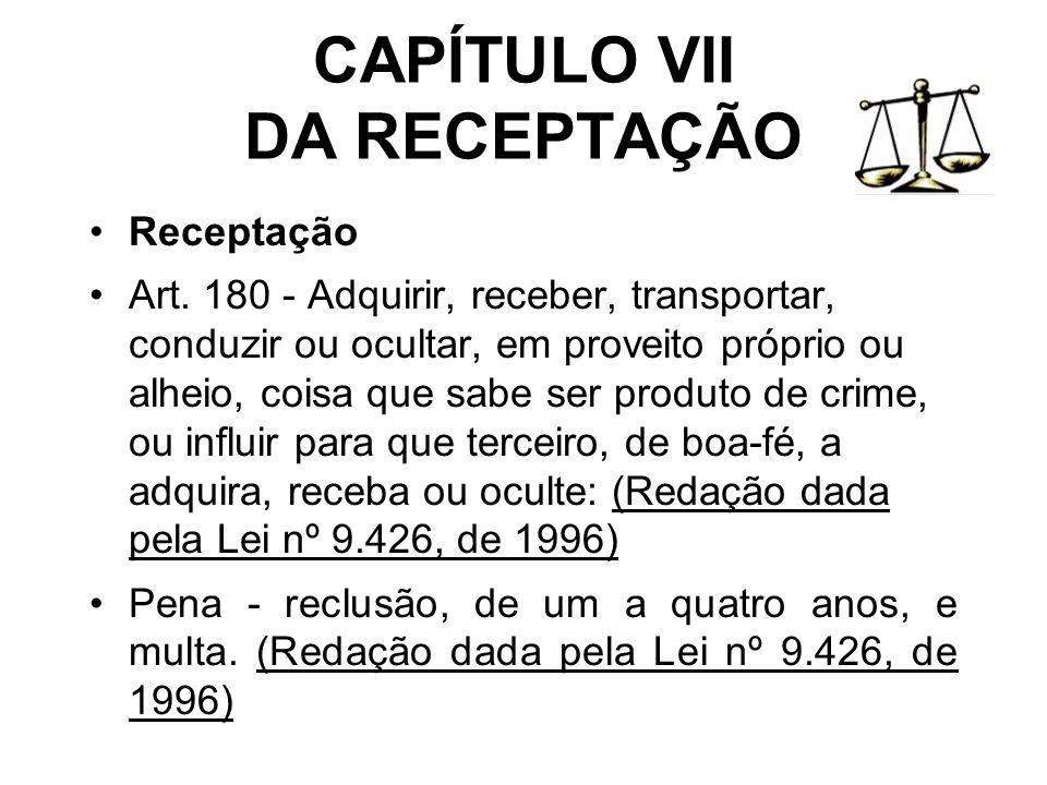 CAPÍTULO VII DA RECEPTAÇÃO Receptação Art. 180 - Adquirir, receber, transportar, conduzir ou ocultar, em proveito próprio ou alheio, coisa que sabe se