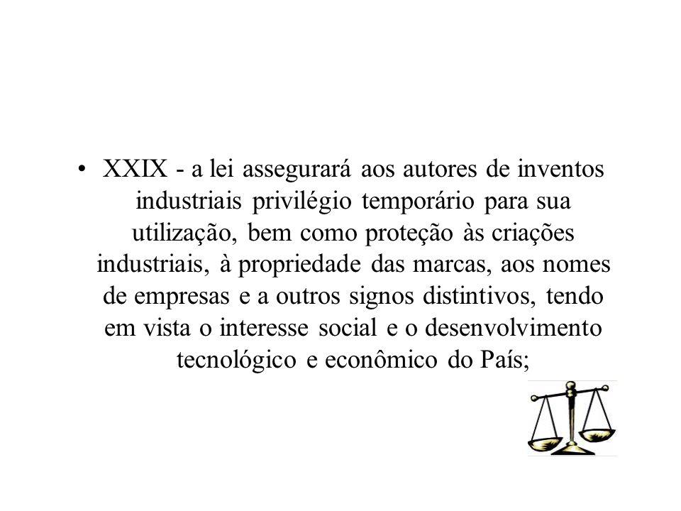 XXIX - a lei assegurará aos autores de inventos industriais privilégio temporário para sua utilização, bem como proteção às criações industriais, à pr
