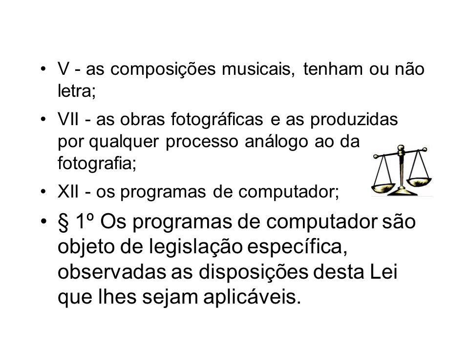V - as composições musicais, tenham ou não letra; VII - as obras fotográficas e as produzidas por qualquer processo análogo ao da fotografia; XII - os