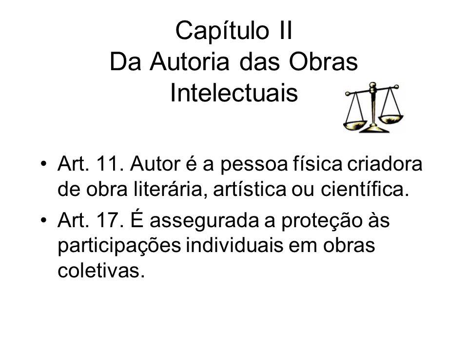 Capítulo II Da Autoria das Obras Intelectuais Art. 11. Autor é a pessoa física criadora de obra literária, artística ou científica. Art. 17. É assegur
