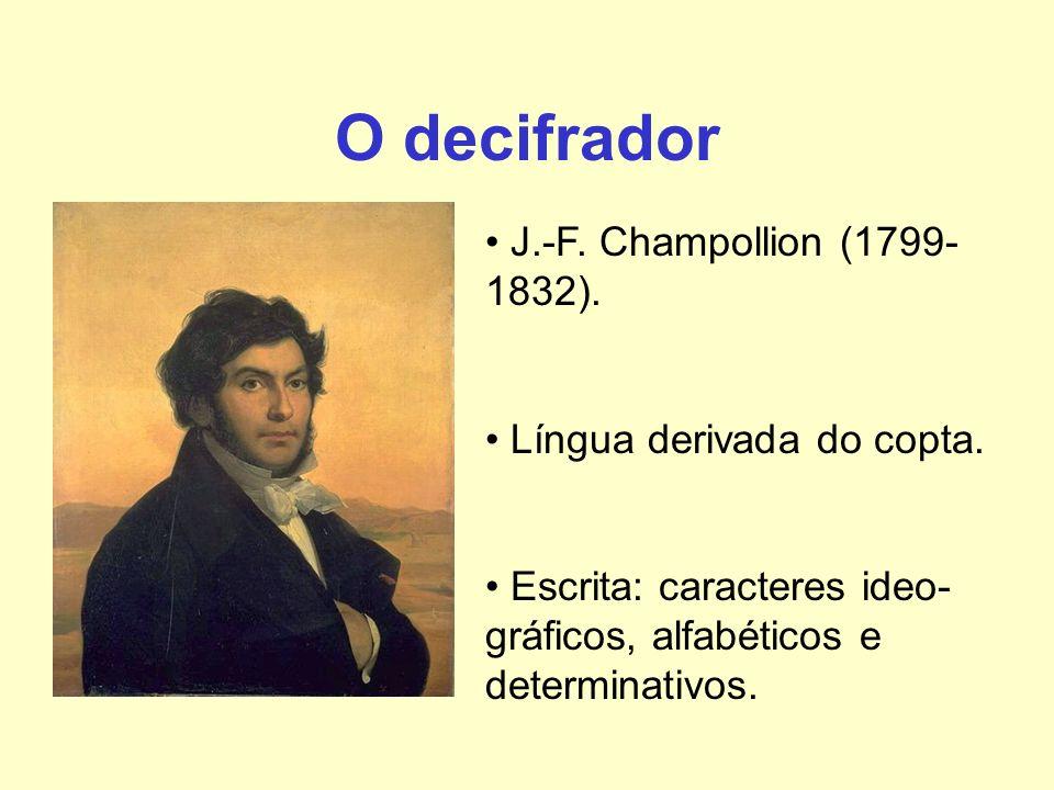 O decifrador J.-F. Champollion (1799- 1832). Língua derivada do copta. Escrita: caracteres ideo- gráficos, alfabéticos e determinativos.