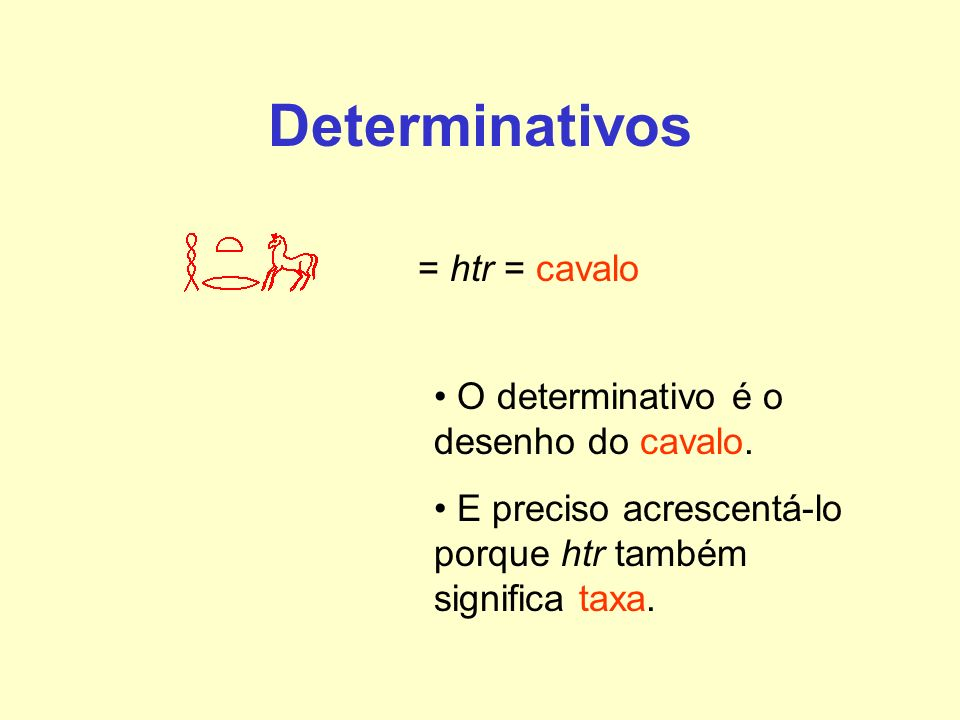 Determinativos = htr = cavalo O determinativo é o desenho do cavalo. E preciso acrescentá-lo porque htr também significa taxa.