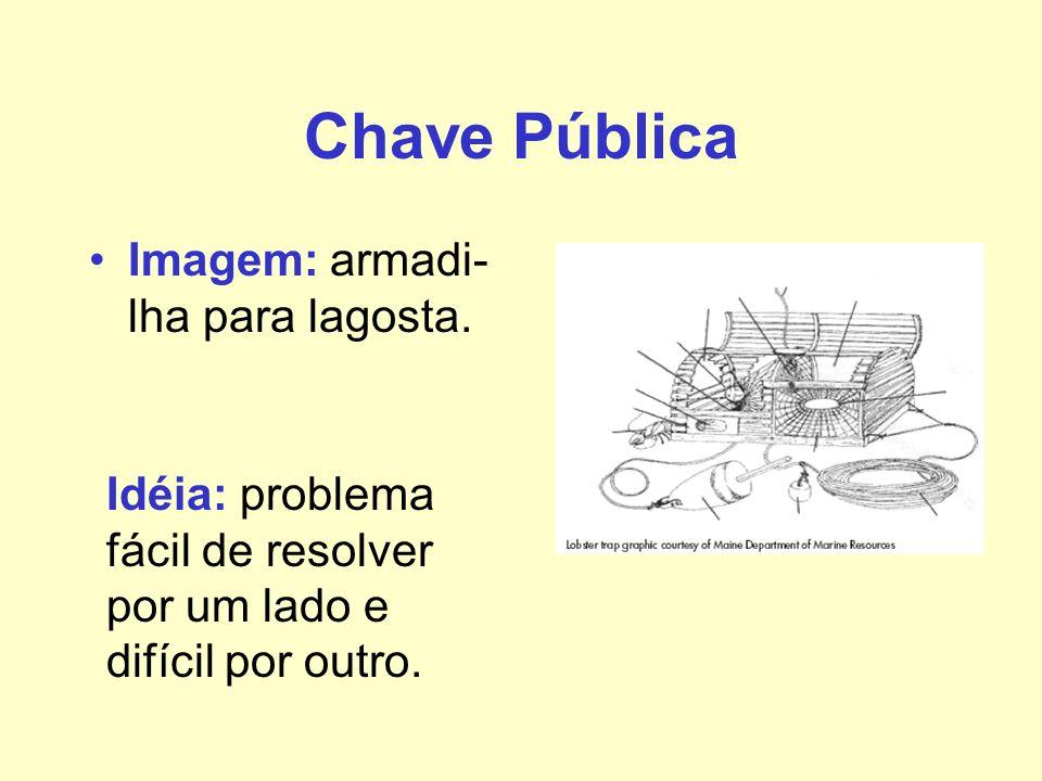Chave Pública Imagem: armadi- lha para lagosta. Idéia: problema fácil de resolver por um lado e difícil por outro.