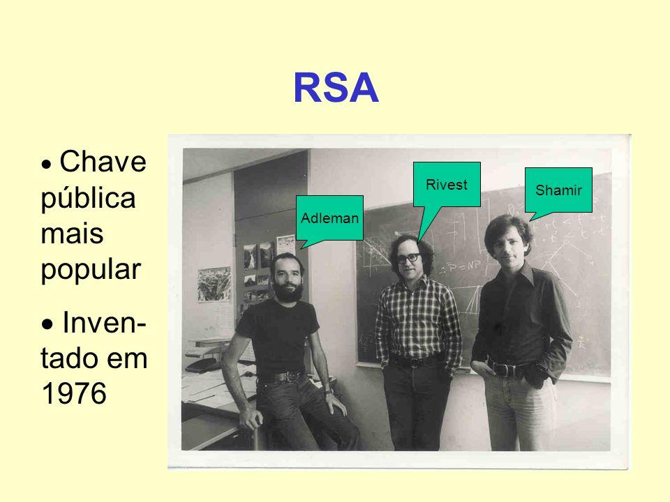 RSA Chave pública mais popular Inven- tado em 1976 Rivest Shamir Adleman
