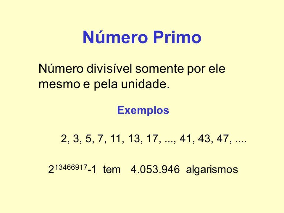 Número Primo Número divisível somente por ele mesmo e pela unidade. Exemplos 2, 3, 5, 7, 11, 13, 17,..., 41, 43, 47,.... 2 13466917 -1 tem 4.053.946 a