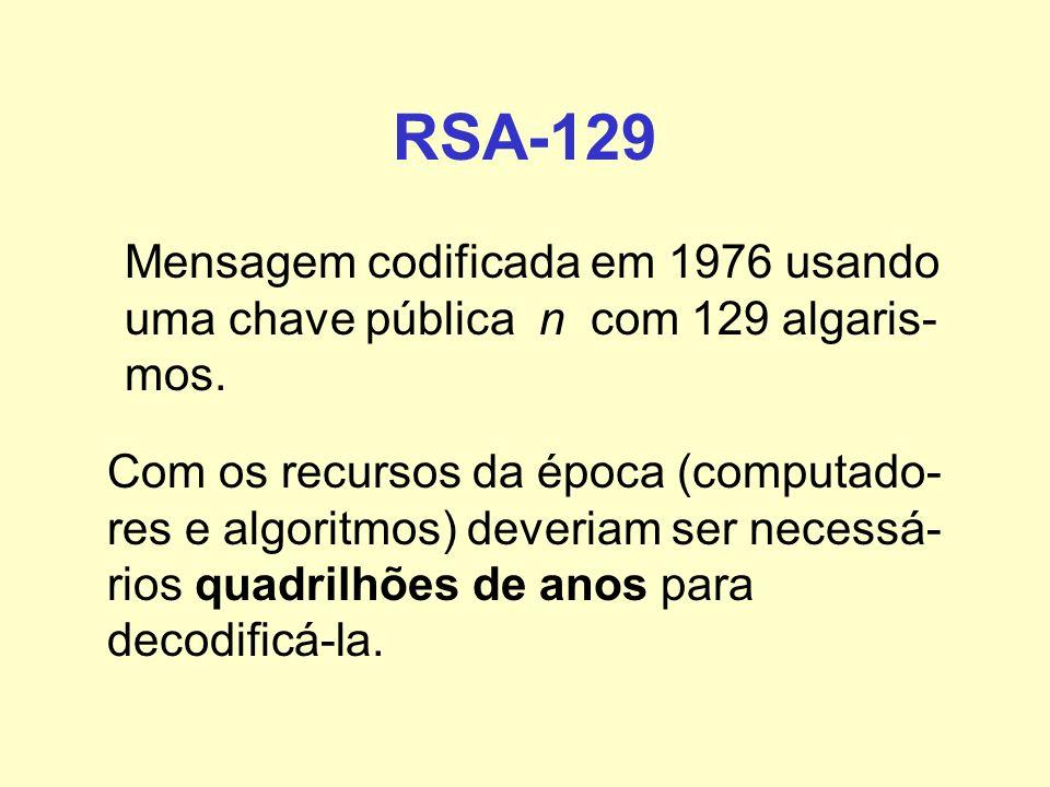 RSA-129 Mensagem codificada em 1976 usando uma chave pública n com 129 algaris- mos. Com os recursos da época (computado- res e algoritmos) deveriam s