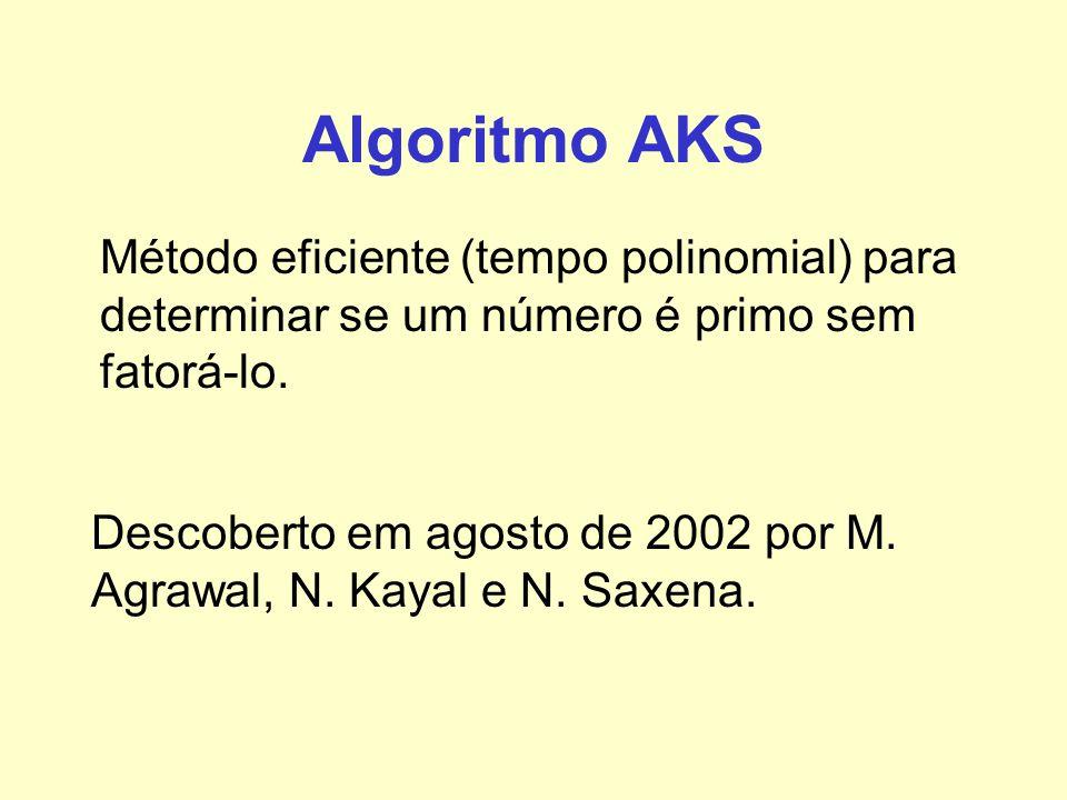 Algoritmo AKS Método eficiente (tempo polinomial) para determinar se um número é primo sem fatorá-lo. Descoberto em agosto de 2002 por M. Agrawal, N.