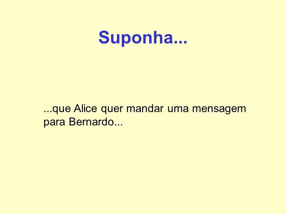 Suponha......que Alice quer mandar uma mensagem para Bernardo...